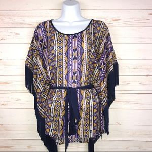Flying Tomato Geometric Print Fringe Boho Top Sz S